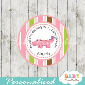 personalized pink croc baby shower tags for baby girl