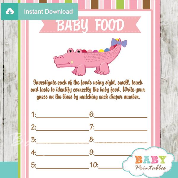 crocodile printable baby shower games blind tasting baby food