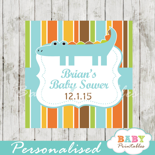 printable custom crocodile baby shower gift labels