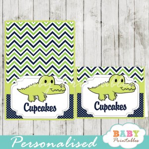 printable food labels crocodile baby shower gator boy