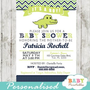 personalized crocodile green and navy blue crocodile boy baby shower invitation printable