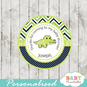 green blue personalized preppy croc baby shower tags for baby boy