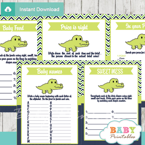 printable preppy crocodile gator baby shower fun games ideas