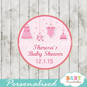 baby girl pink clothes baby shower tags labels
