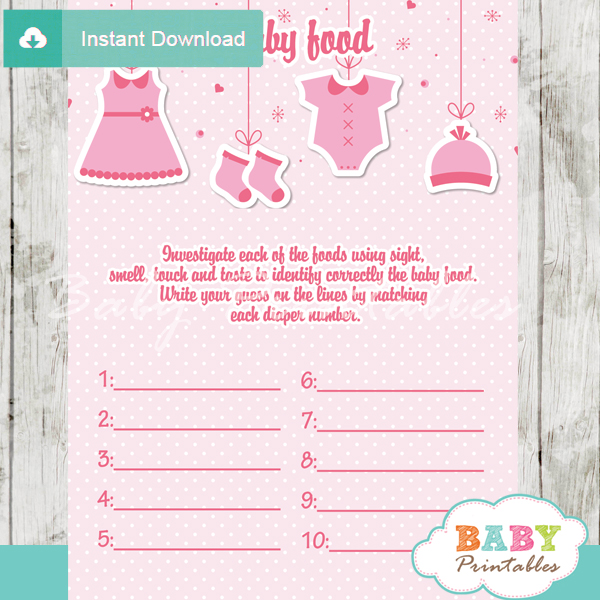 pink baby girl clothes printable baby shower games blind tasting baby food