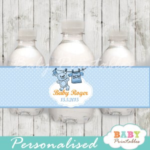 personalized blue baby boy clothes baby shower bottle wrappers