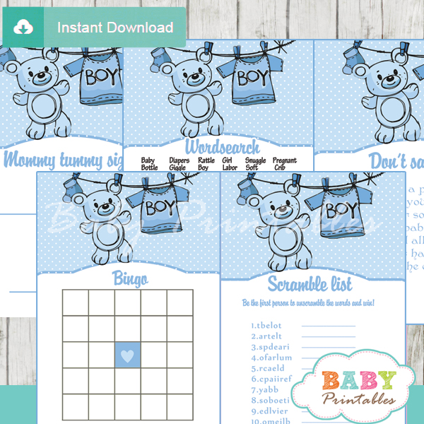 printable blue clothes themed baby shower games package