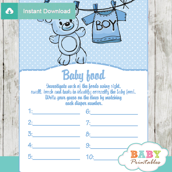 Blue Clothesline Baby Shower Games D151 Baby Printables