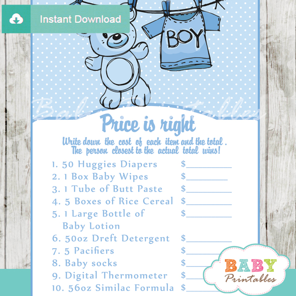 baby boy blue clothes Price is Right Baby Shower Games printable pdf