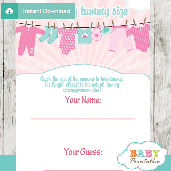 baby girl clothes printable Baby Shower Game Guess the Mommy's Tummy Size