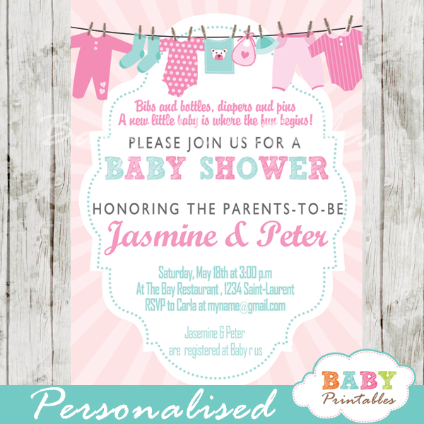 baby girl pink tiffany blue clothesline baby shower invitation printable