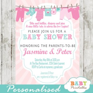 baby girl pink tiffany blue clothesline baby shower invitation printable