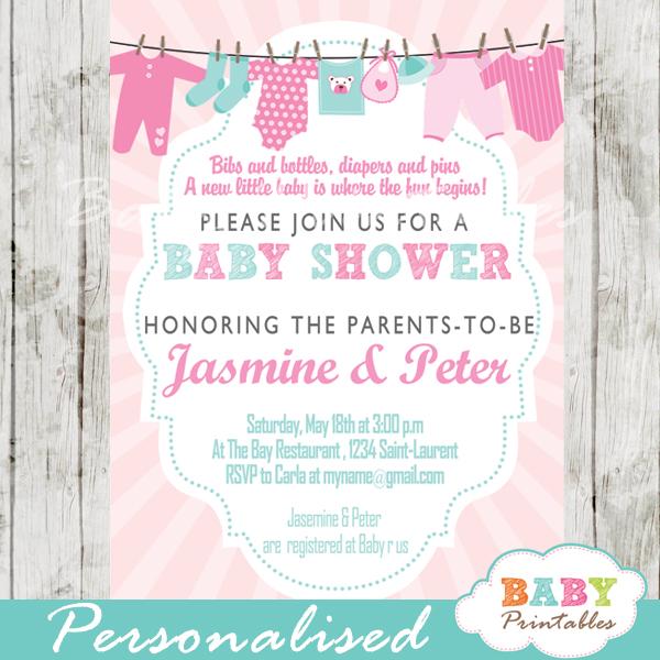 Pink Tiffany Blue Clothesline Baby Shower Invitation D153