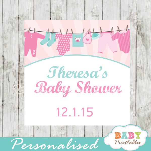printable baby girl pink tiffany clothes baby shower gift labels