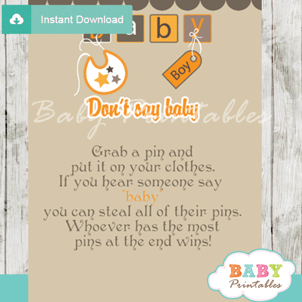 printable baby blocks letters theme Dont Say Baby Game pdf