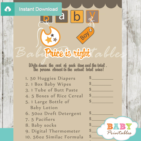 baby blocks letters Price is Right Baby Shower Games printable pdf