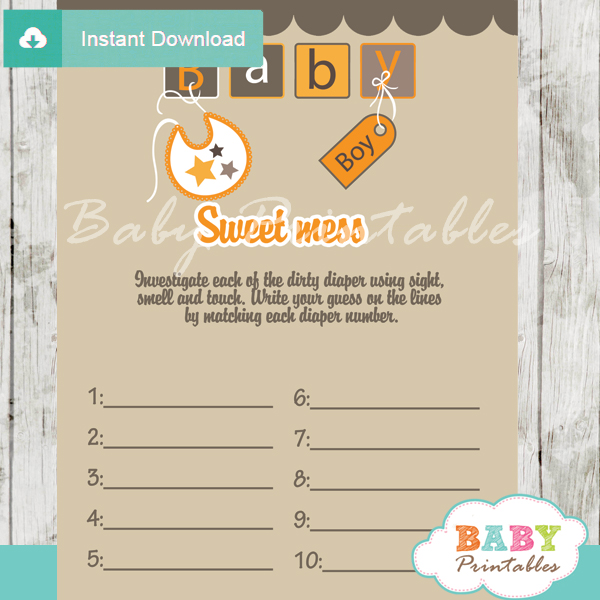 baby blocks letters themed Baby Shower Game What's That Sweet Mess Dirty Diaper Shower Game