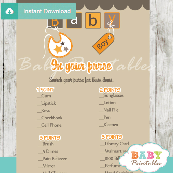 baby boy letter blocks themed printable baby shower games what's in your purse