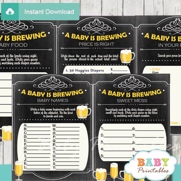 printable baby is brewing babyq baby shower fun games ideas