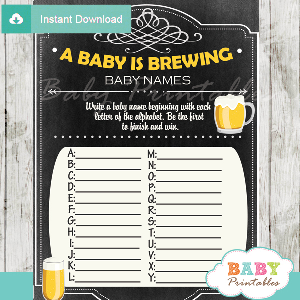 printable baby is brewing Name Race Baby Shower Game cards