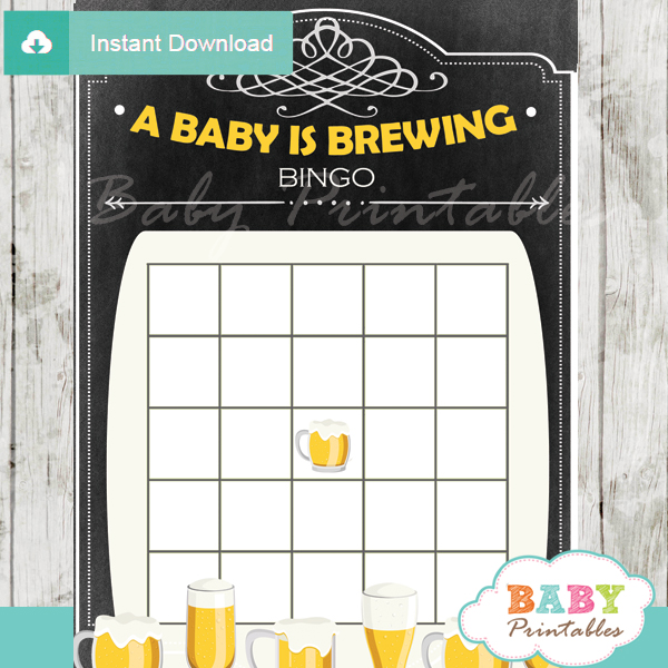 printable baby is brewing themed baby shower bingo games cards