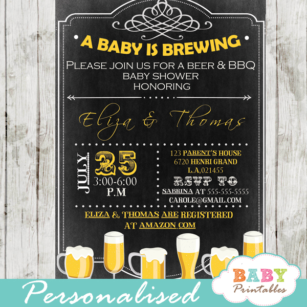 A Baby is Brewing Baby Shower Beer BBQ Invitation D155 Baby