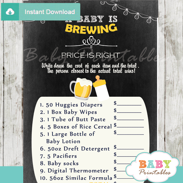 beer bbq Price is Right Baby Shower Games printable pdf
