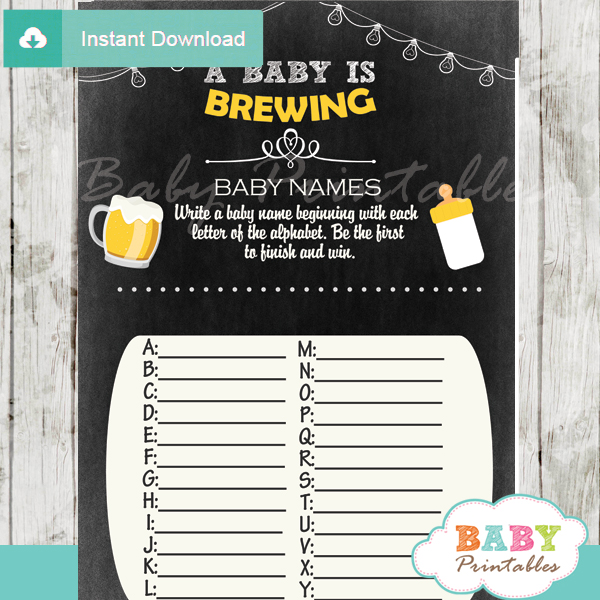 printable beer bbq Name Race Baby Shower Game cards