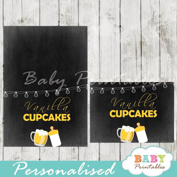 printable baby boy brewing beer food label cards