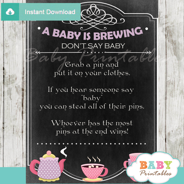 printable tea party theme Dont Say Baby Game pdf