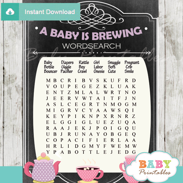 tea party themed printable baby shower word search puzzles