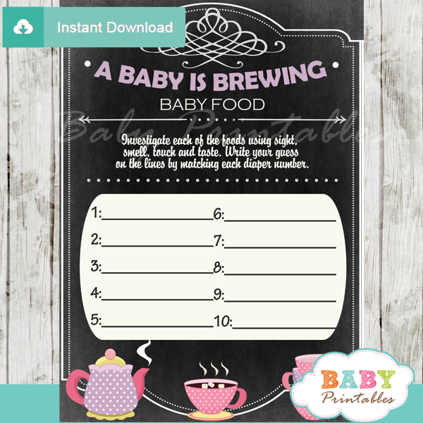 baby girl tea party printable baby shower games blind tasting baby food