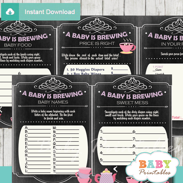 printable tea party baby shower fun games ideas