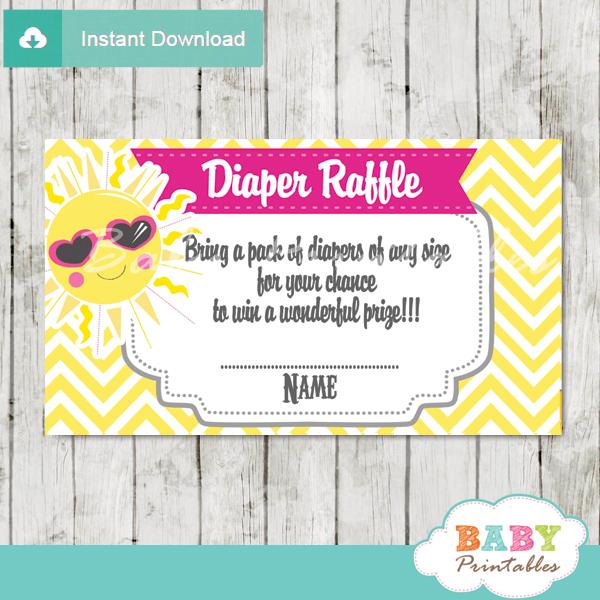 Printable Sunshine Diaper Raffle Game Cards Baby Shower