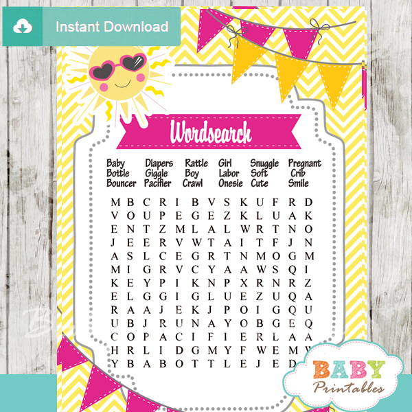 sunshine themed printable baby shower word search puzzles