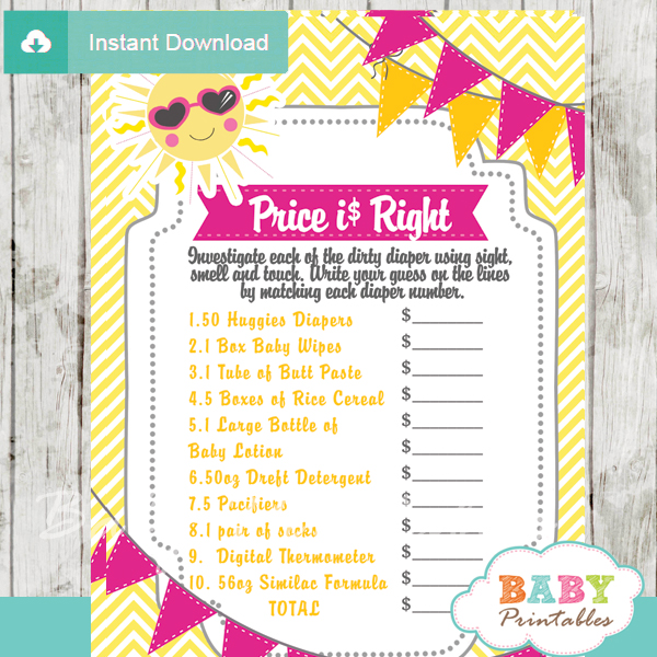 girl sunshine Price is Right Baby Shower Games printable pdf