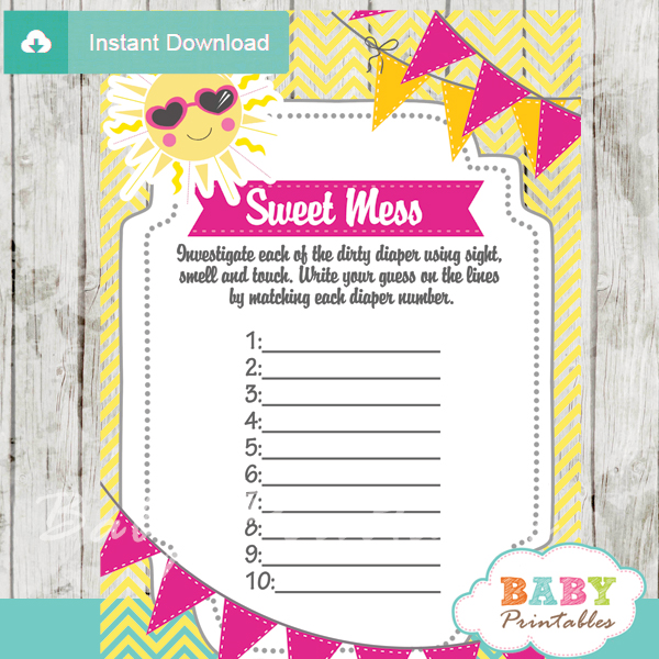 sunshine themed Baby Shower Game What's That Sweet Mess Dirty Diaper Shower Game