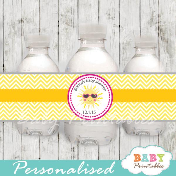custom pink yellow chevron sunshine baby shower bottle wrappers diy online