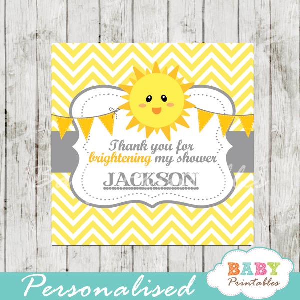 printable yellow chevron sunshine baby shower gift labels
