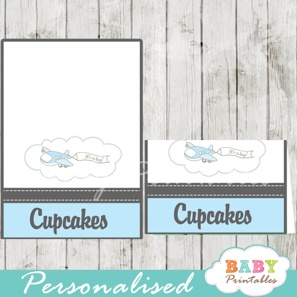 printable blue airplane custom food label cards