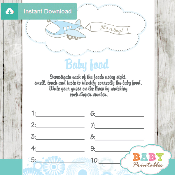 air plane printable baby shower games blind tasting baby food