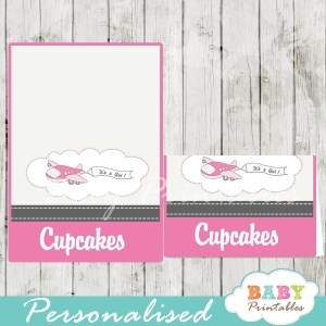 printable pink airplane custom food label cards
