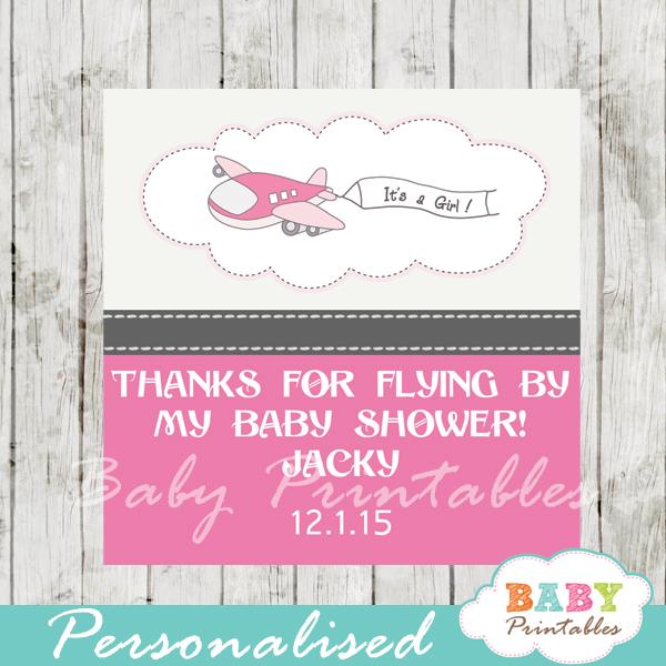 printable custom pink airplane baby shower favor tags