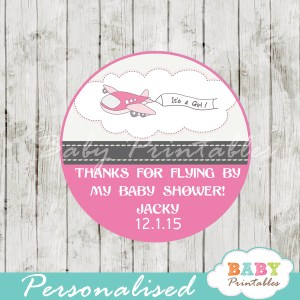 custom pink airplane themed baby shower favor labels