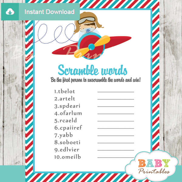 little aviator plane printable word scramble baby shower games