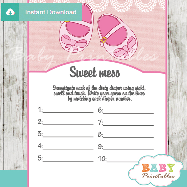 baby girl shoes themed Baby Shower Game What's That Sweet Mess Dirty Diaper Shower Game