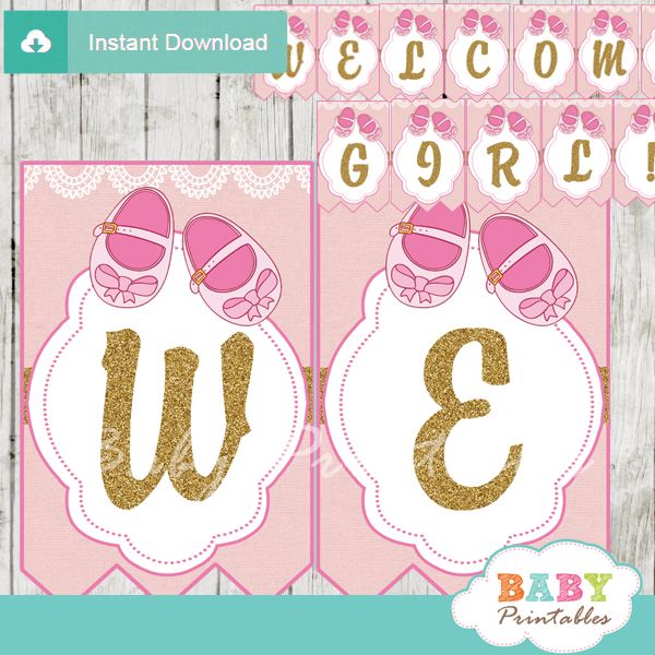 printable baby shoes pink baby shower welcome banner decoration