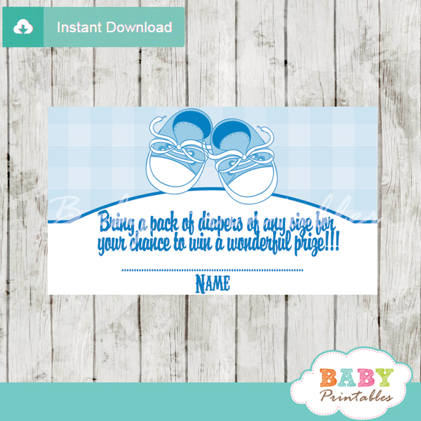 printable baby shoes diaper raffle game cards baby shower
