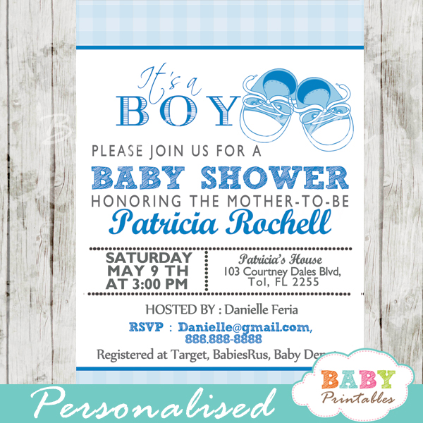 Blue Baby Shoes Shower Invitation Boys D171