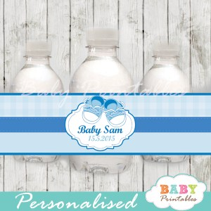 custom blue baby shoes baby shower bottle wrappers diy